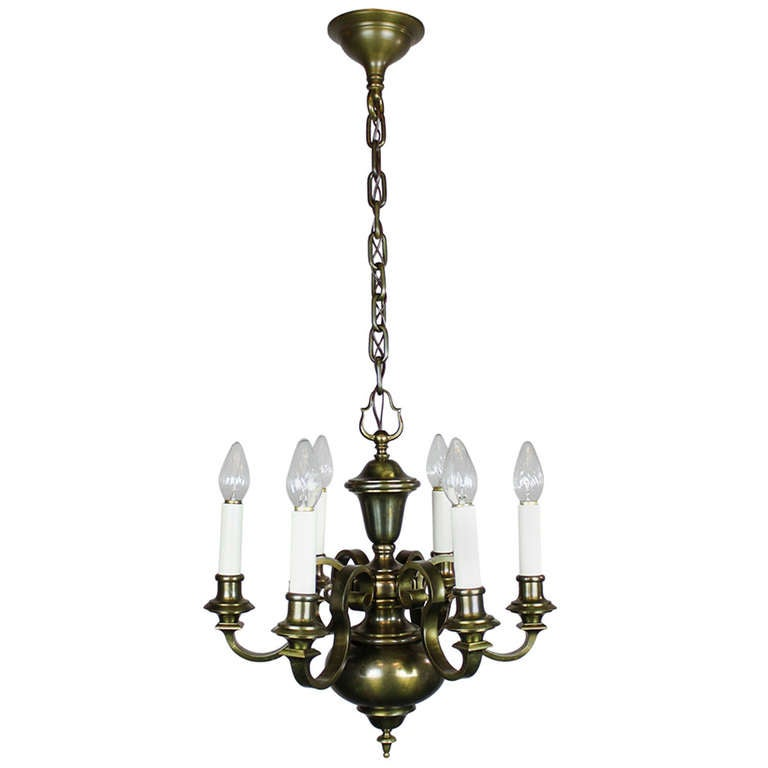 Colonial Revival Chandelier, Six-Light For Sale At 1stdibs