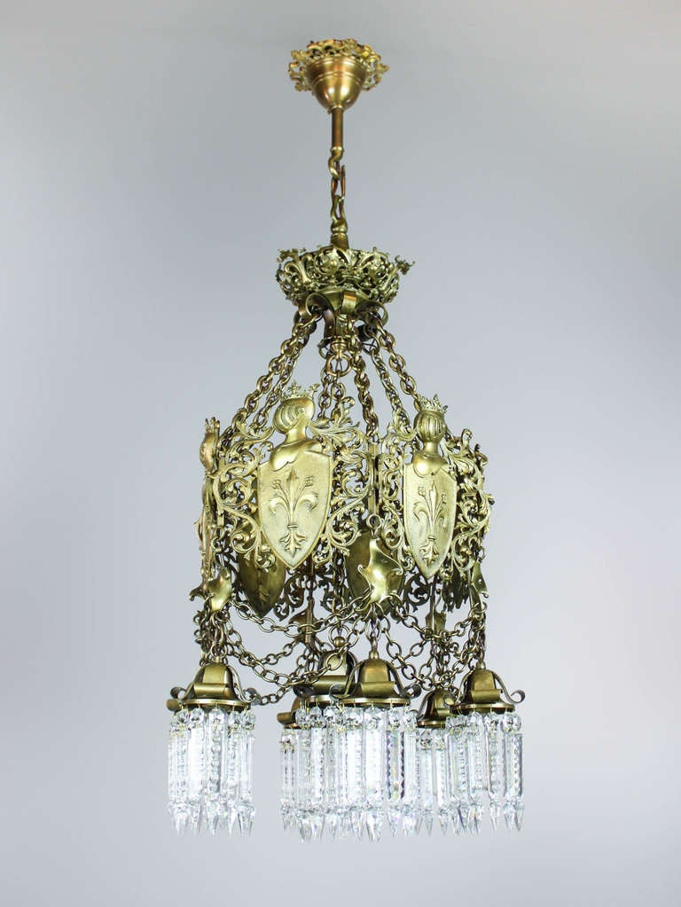 Tudor Revival Chandelier 7 Light At 1stdibs