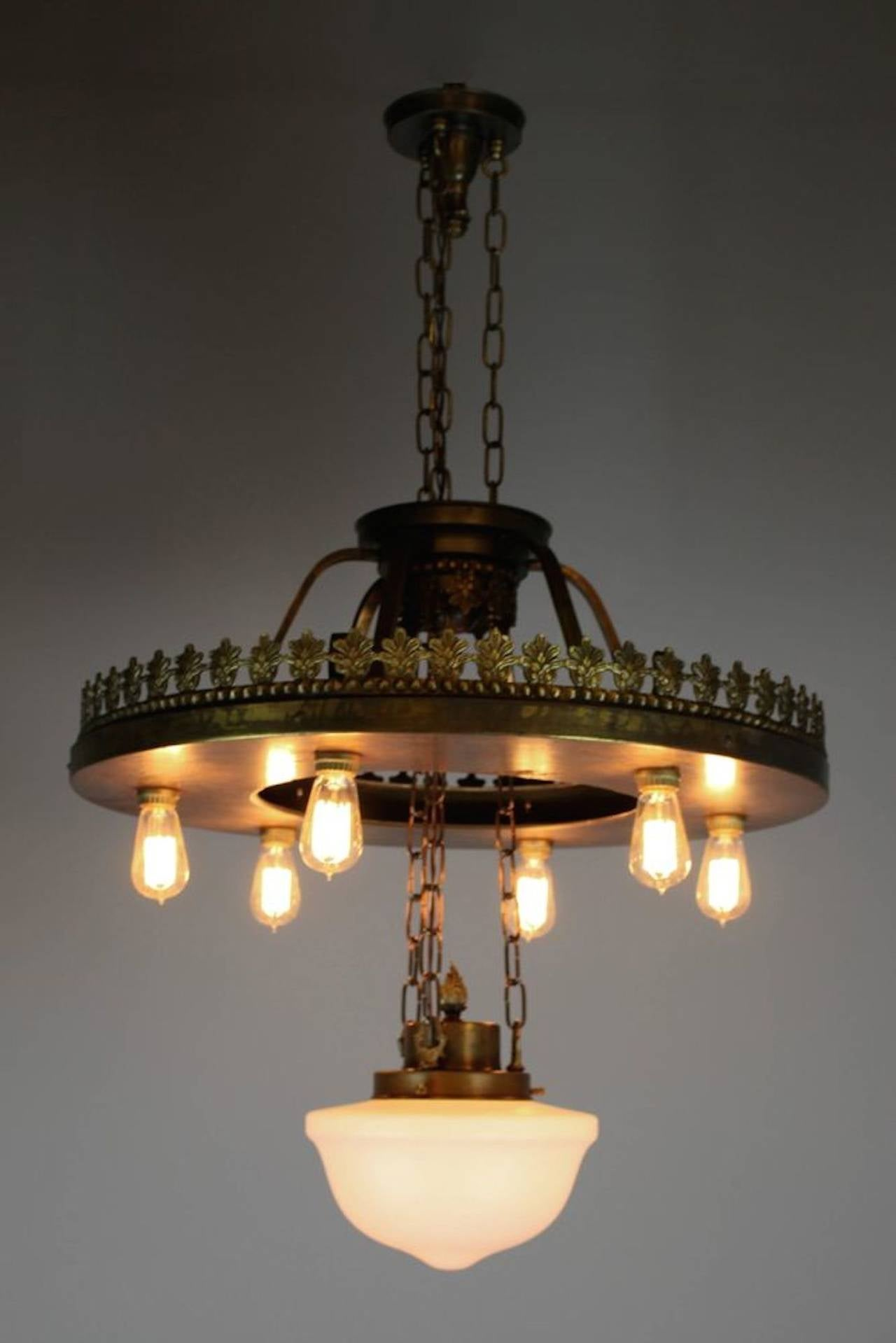large industrial bare bulb seven light fixture for sale at. Black Bedroom Furniture Sets. Home Design Ideas