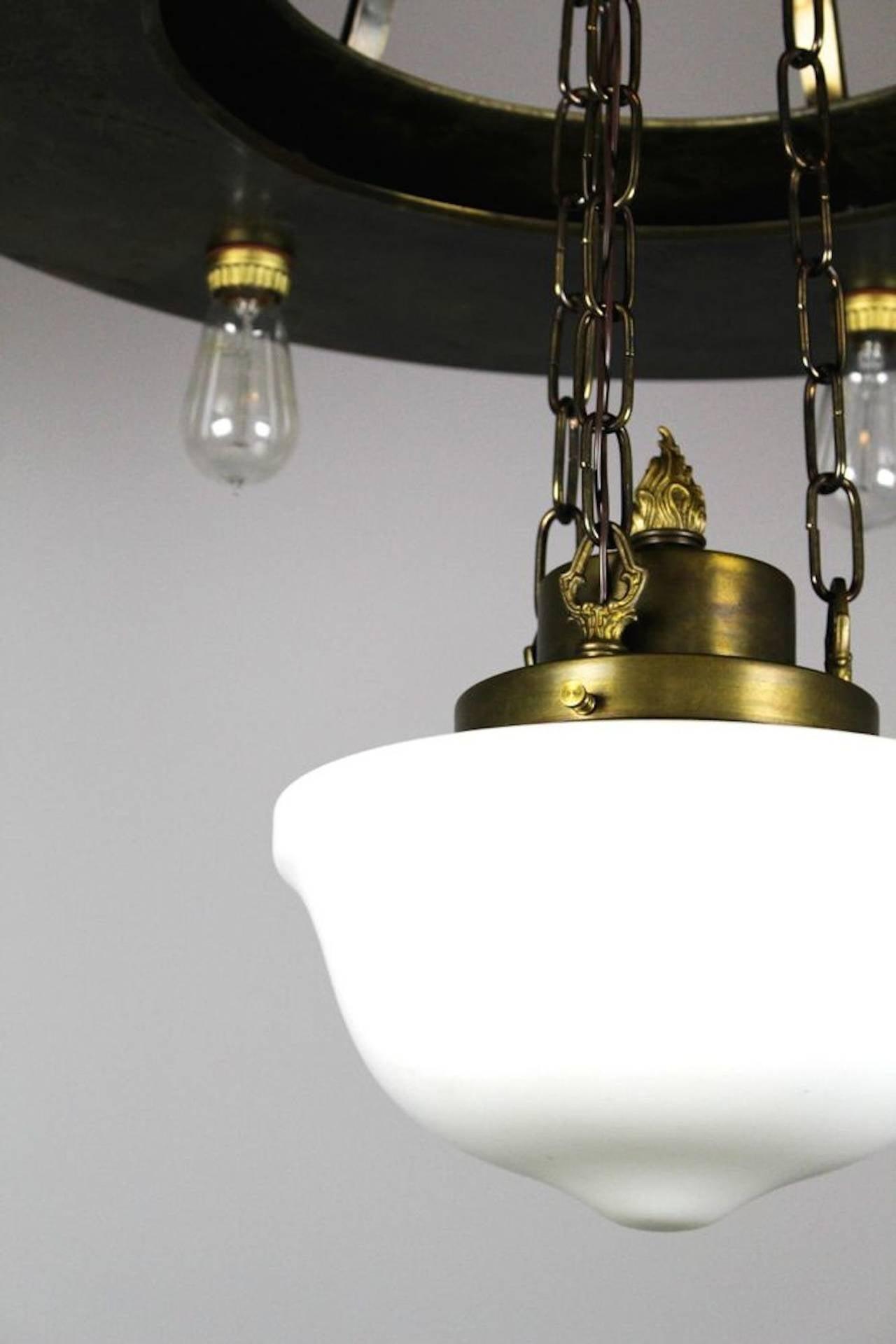 large industrial bare bulb seven light fixture at 1stdibs. Black Bedroom Furniture Sets. Home Design Ideas