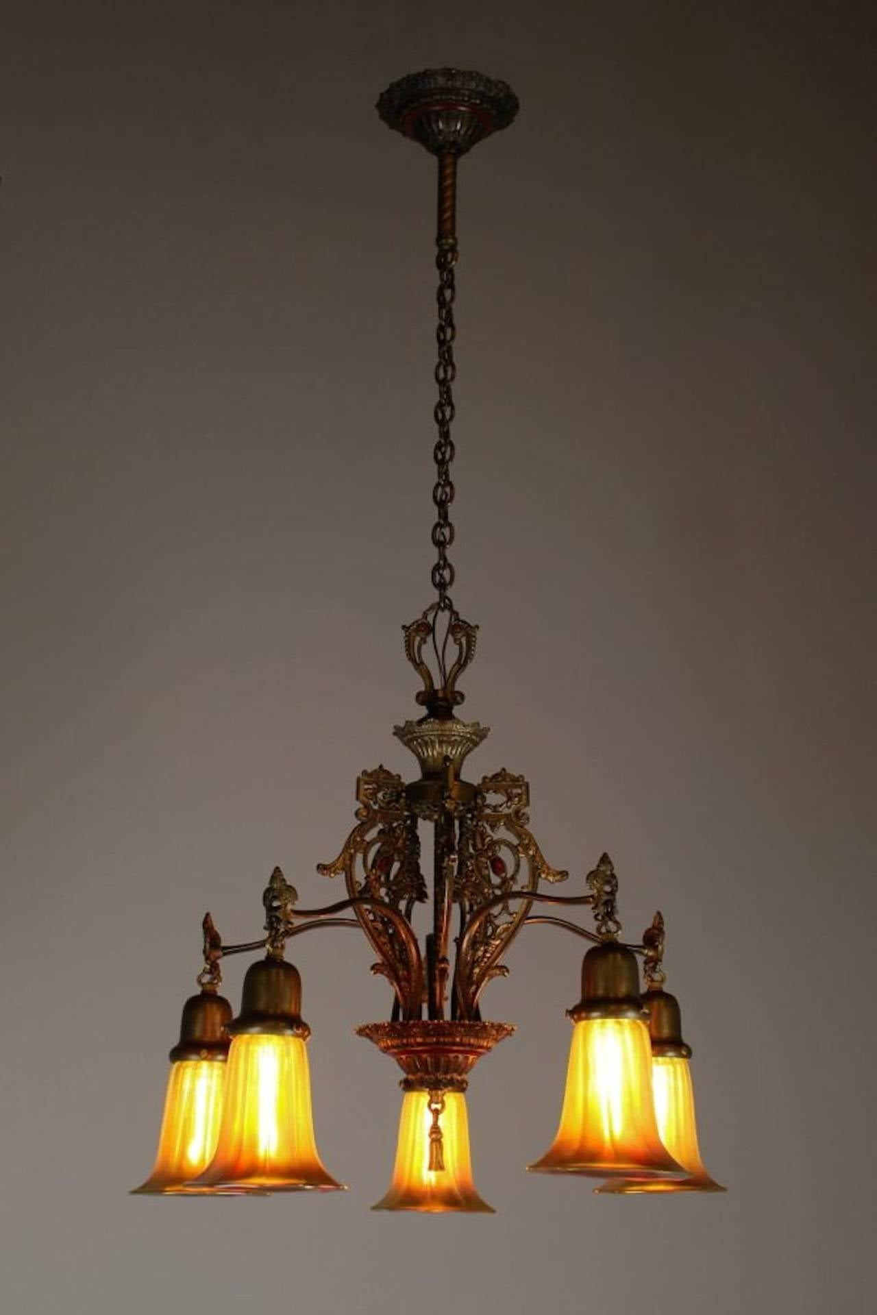 spanish colonial revival five light fixture with art glass. Black Bedroom Furniture Sets. Home Design Ideas