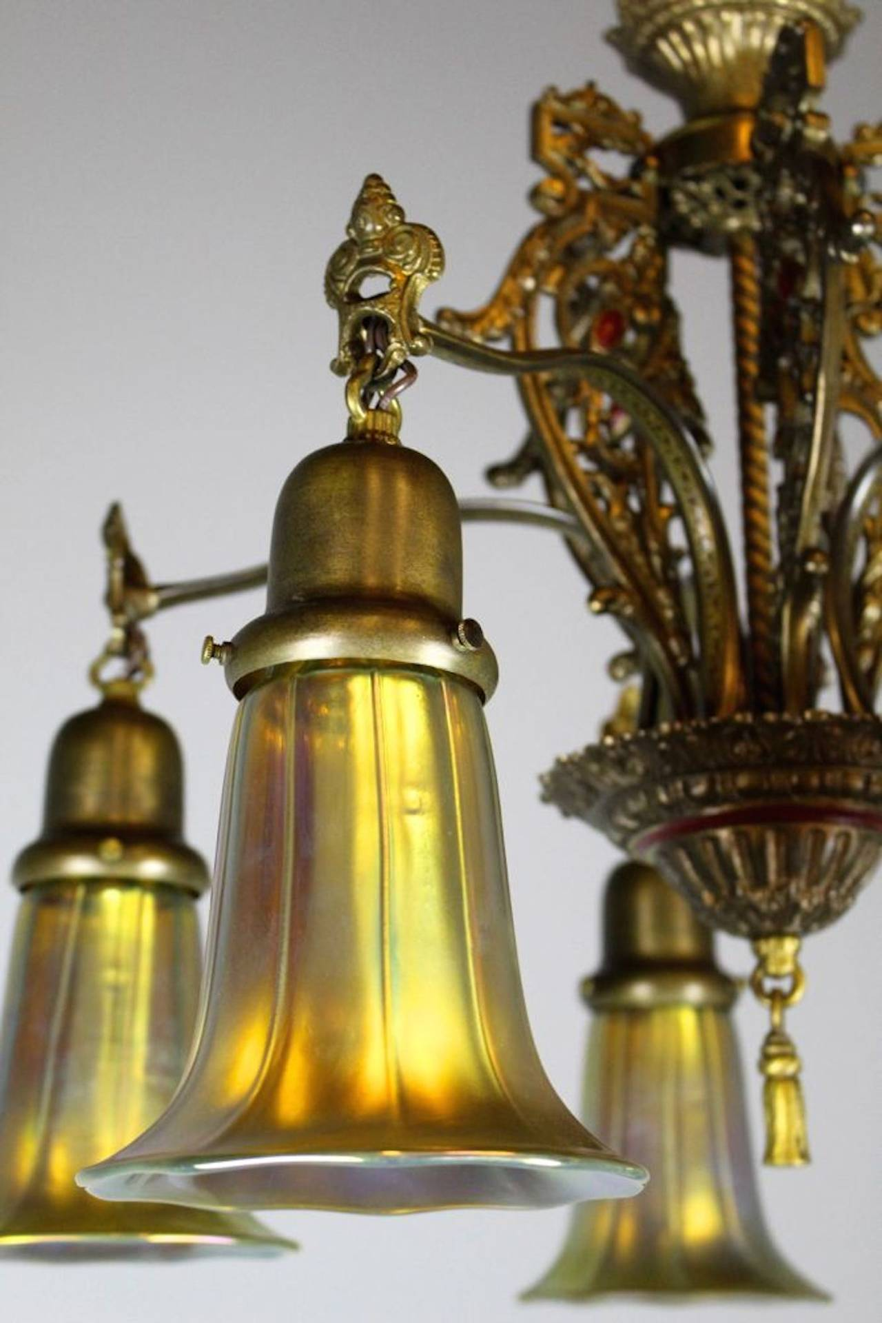 Spanish Colonial Revival Five Light Fixture With Art Glass