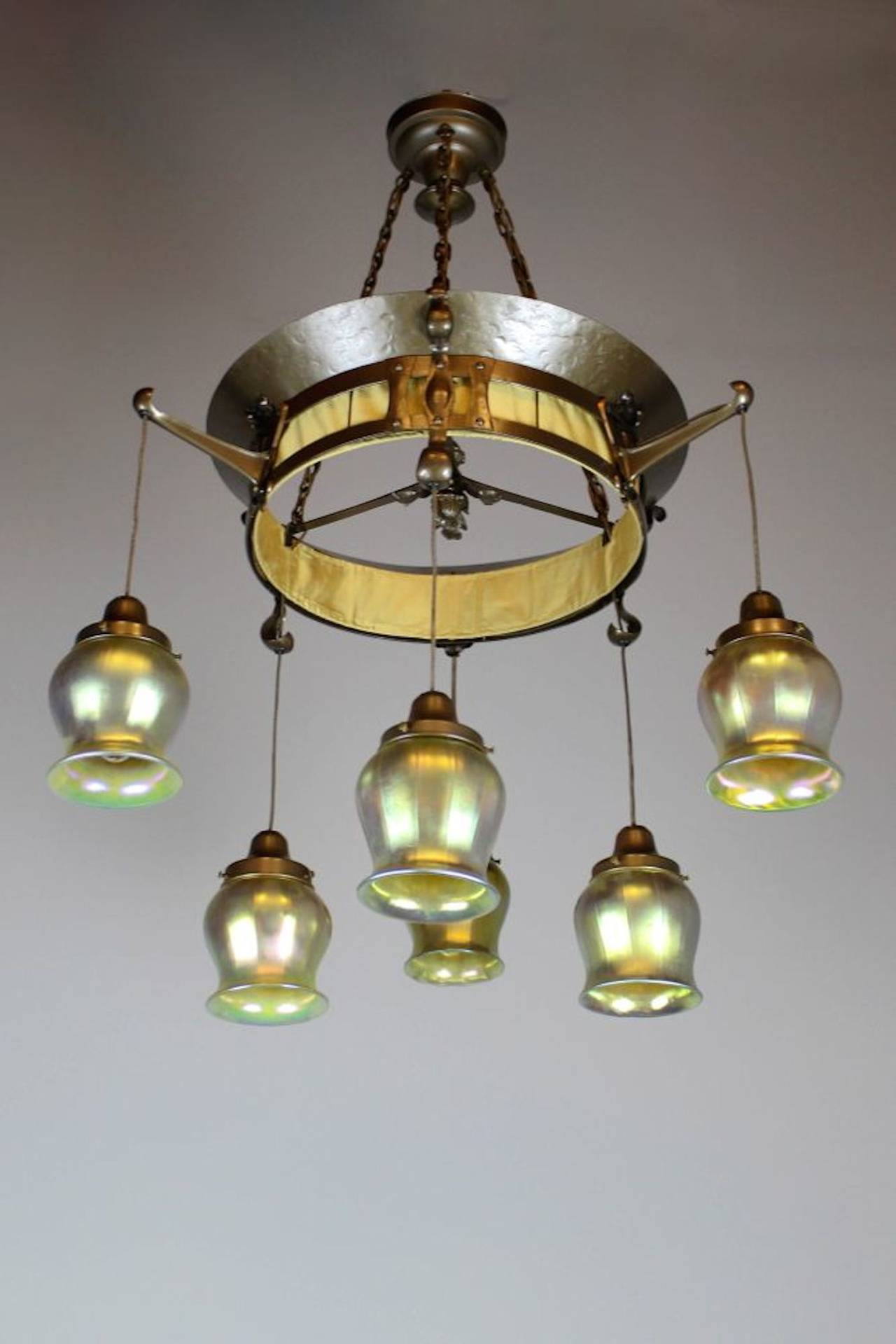 English art nouveau six light fixture at 1stdibs for Art nouveau lighting fixtures