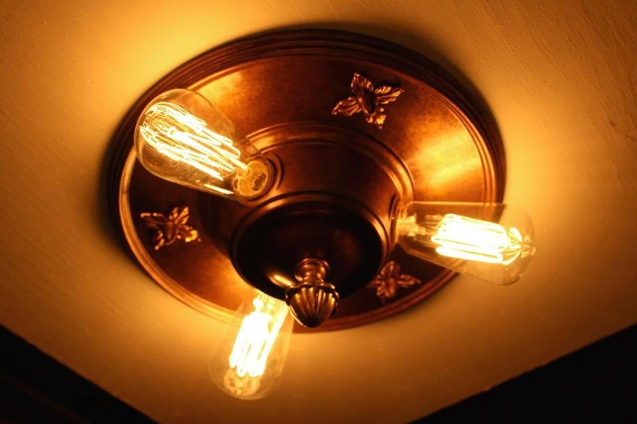 lightolier art deco bedroom three light flush mount