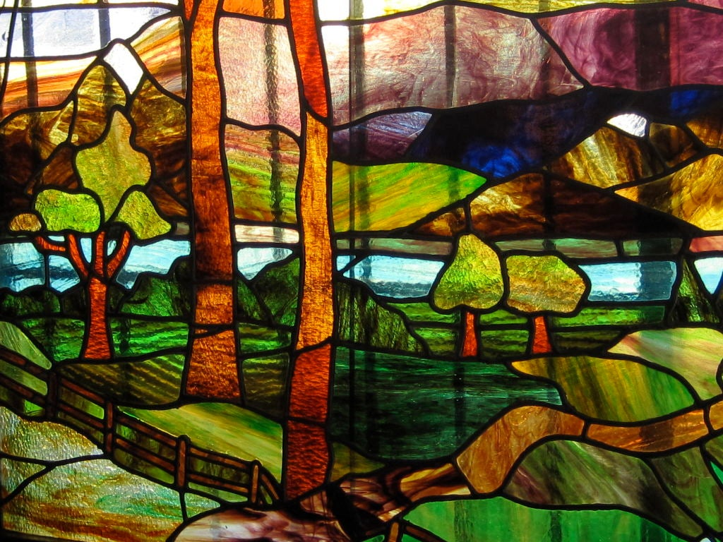 Arts and crafts scenic stained glass window at 1stdibs