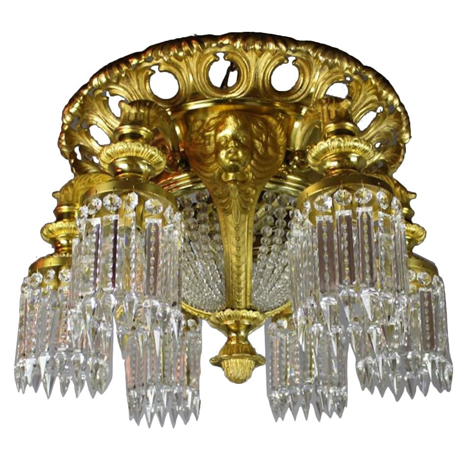Notched Crystal Commercial Lobby Flush Mount With Cherubs