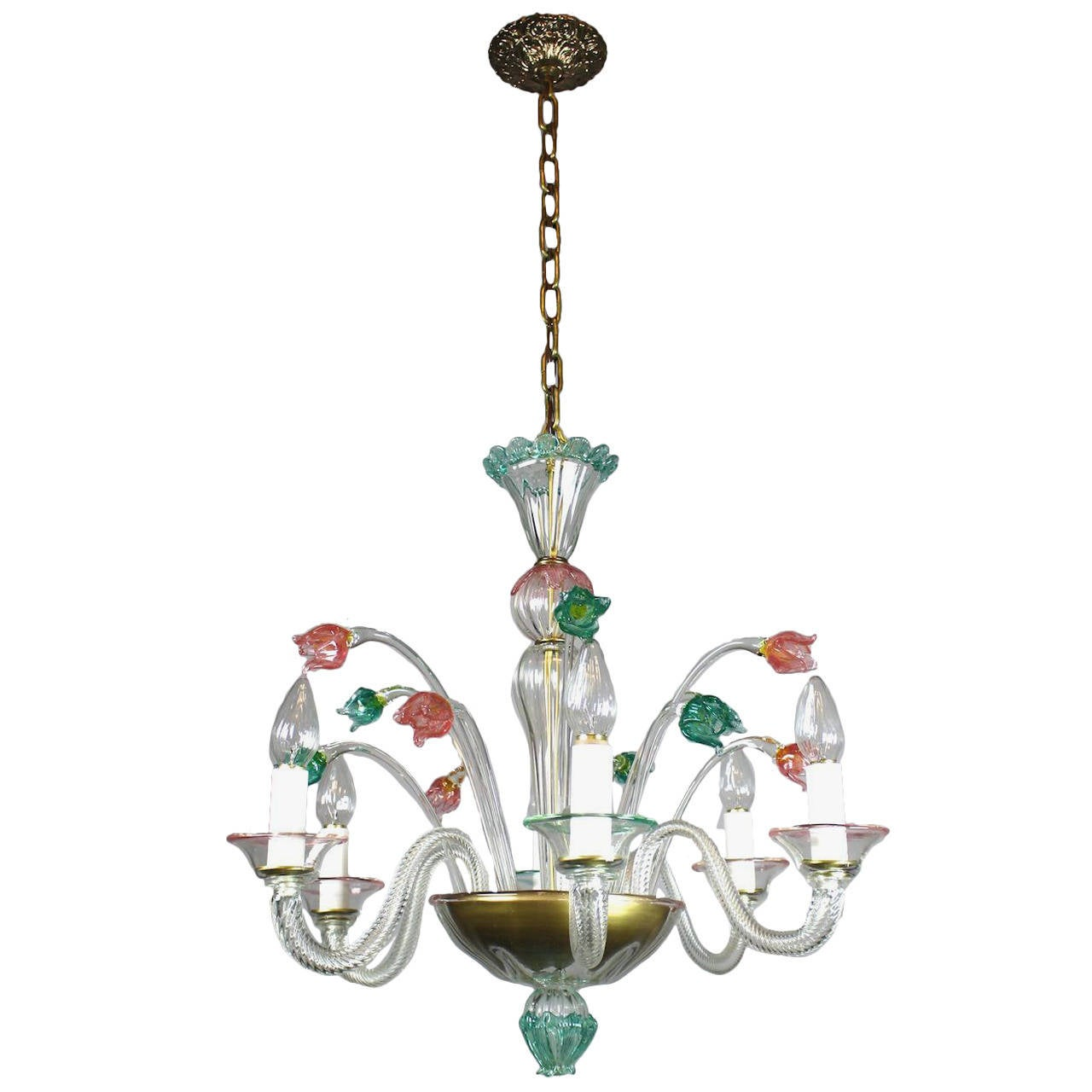 Murano glass six light chandelier circa 1955 for sale at 1stdibs - Circa lighting chandeliers ...