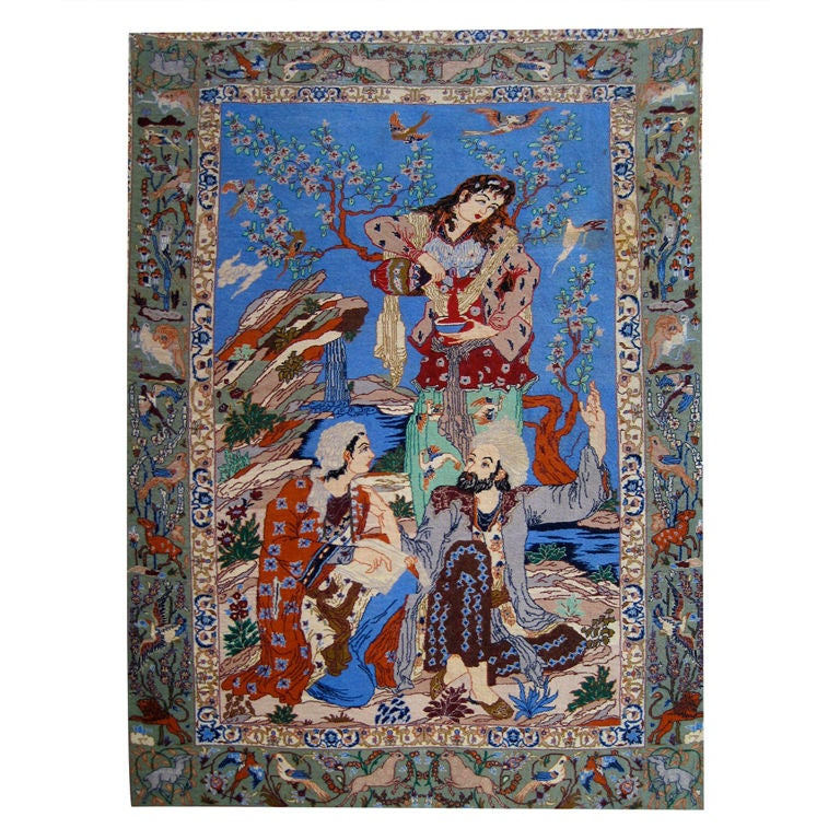 Pictorial Silk And Wool Tabriz Design Persian Rug At 1stdibs