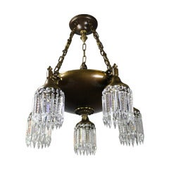 Colonial Revival, Five-Light Crystal Chandelier