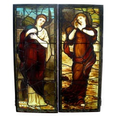 Pair of 19th Century Stained Glass Windows Attributed to Daniel Cottier