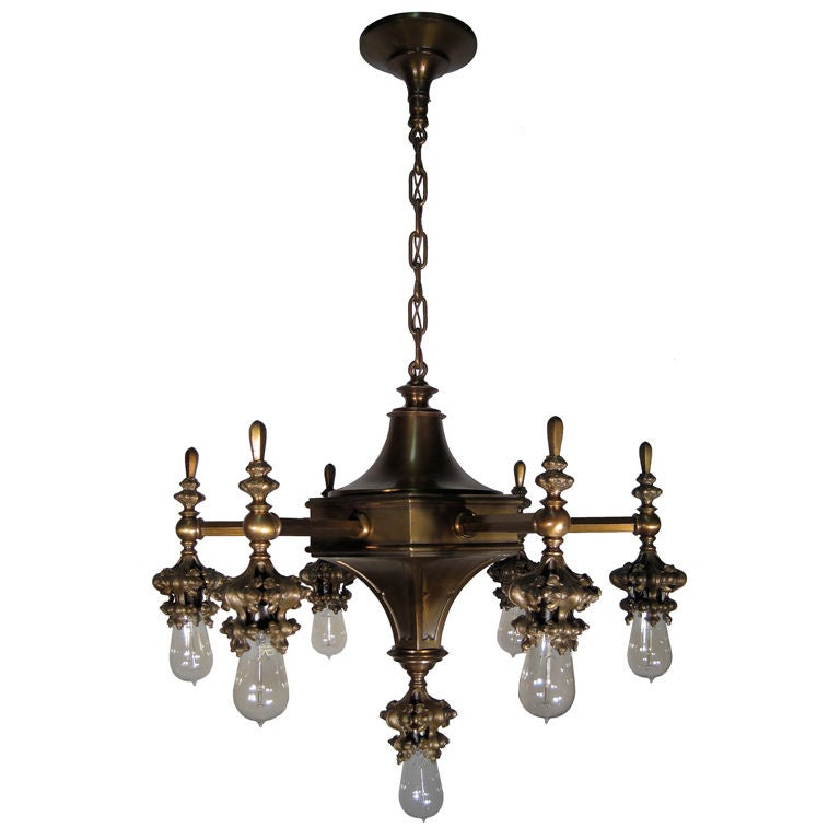 7 light gothic arts and crafts chandelier at 1stdibs for Arts and crafts chandelier