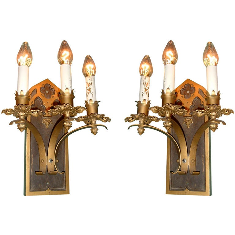 Gothic Wall Sconces: Pair Of Gothic Sconces At 1stdibs