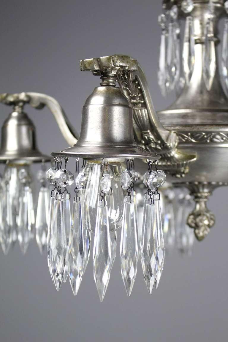 Edwardian Crystal Swag Five Light Chandelier For Sale At