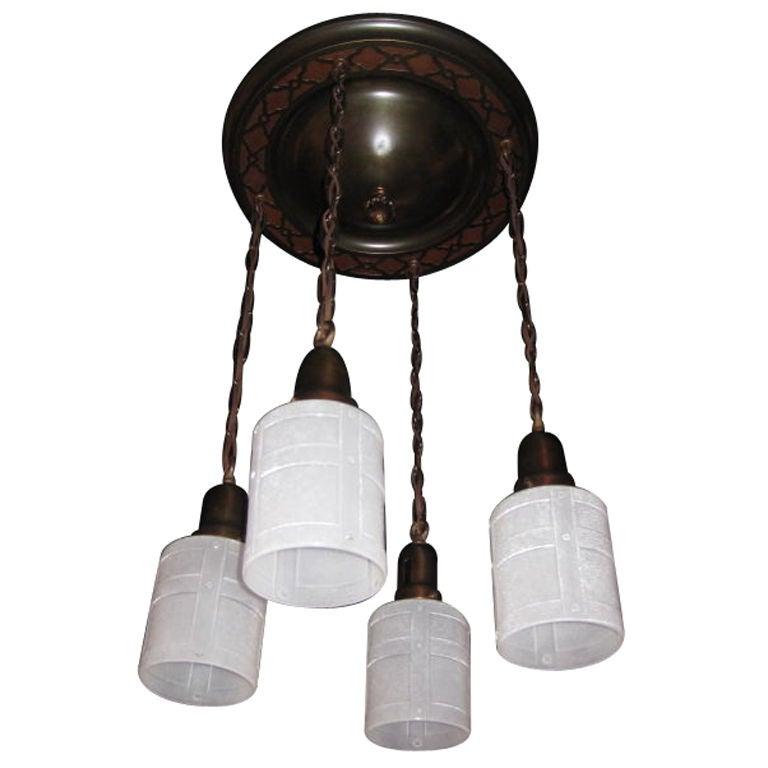 4 light arts and crafts tudor revival flush mount at 1stdibs for Arts and crafts flush mount lighting
