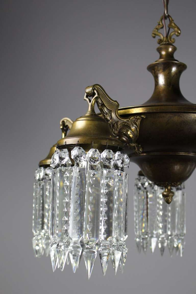 Edwardian Crystal Pan Light With Notched Crystal At 1stdibs