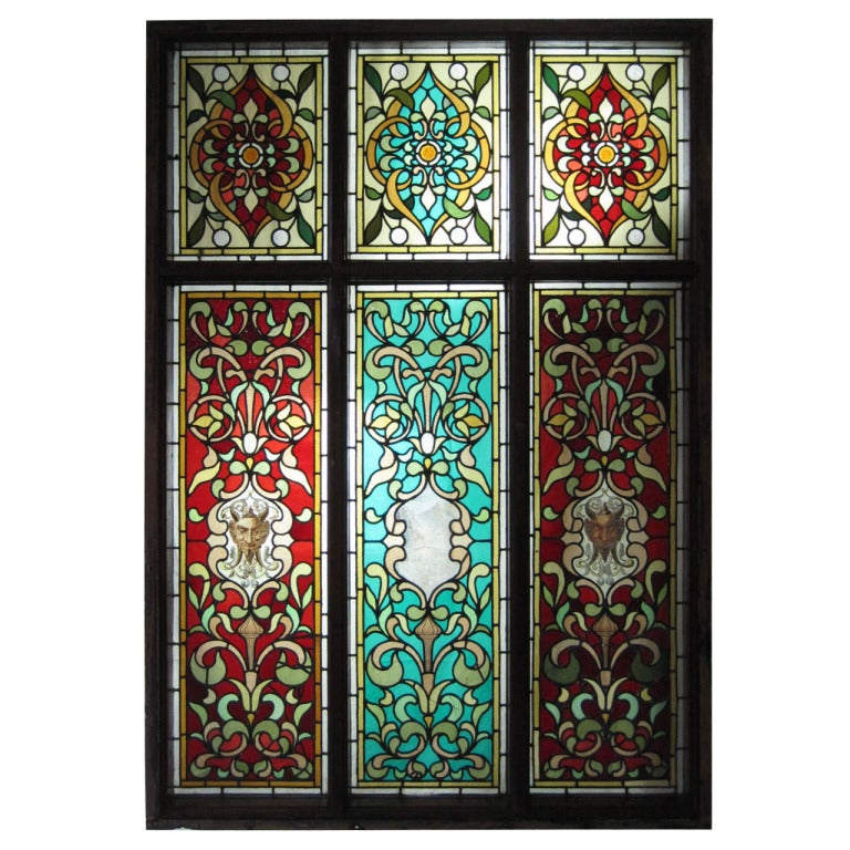 Hand painted stained glass windows at 1stdibs for How to learn glass painting at home