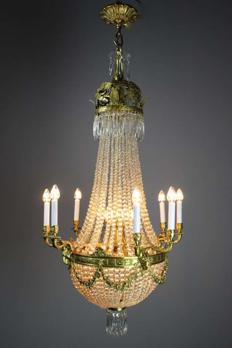 Edwardian White Cut Crystal Basket Chandelier For Sale At
