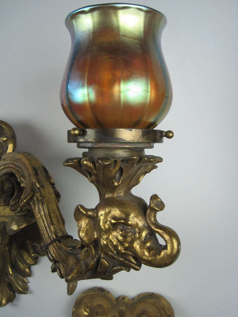 Rothschild House Brass Cast Wall Sconces Pair At 1stdibs