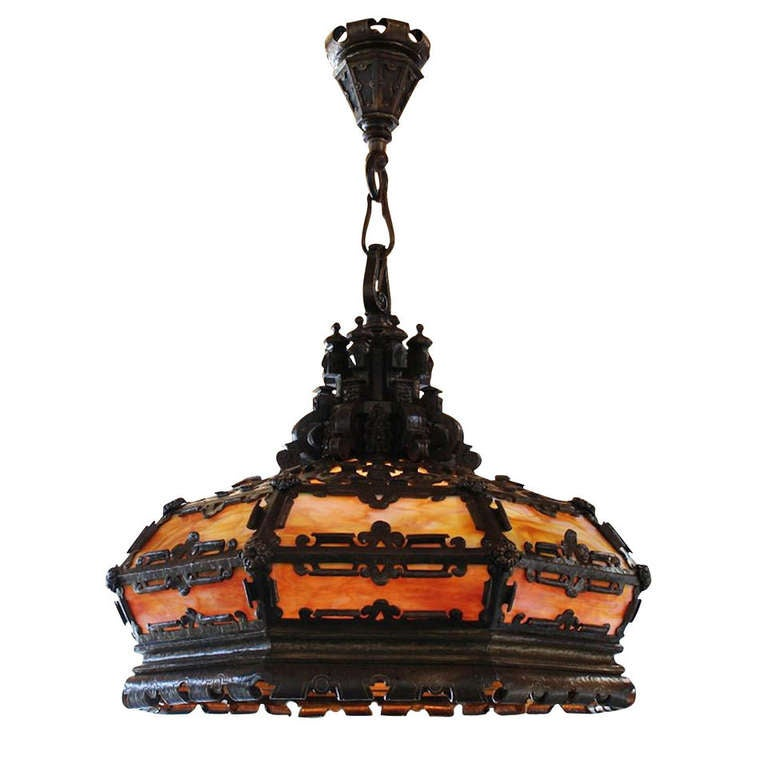 E F Caldwell Tudor Revival Style Large Lantern For Sale