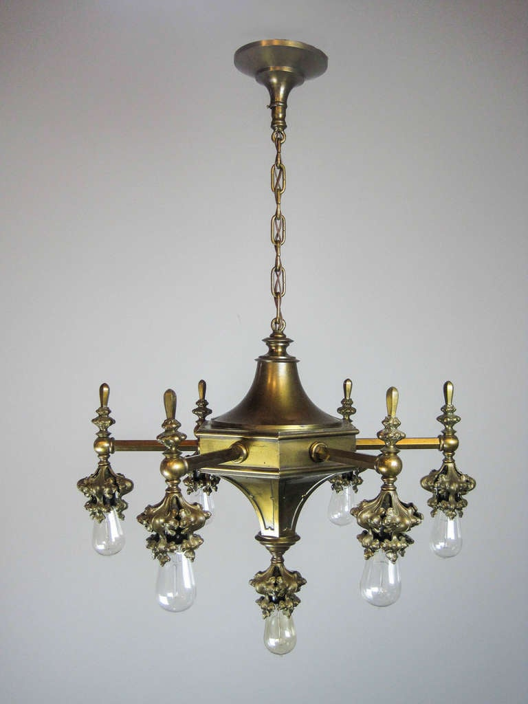 gothic arts and crafts fixture 7 light at 1stdibs. Black Bedroom Furniture Sets. Home Design Ideas