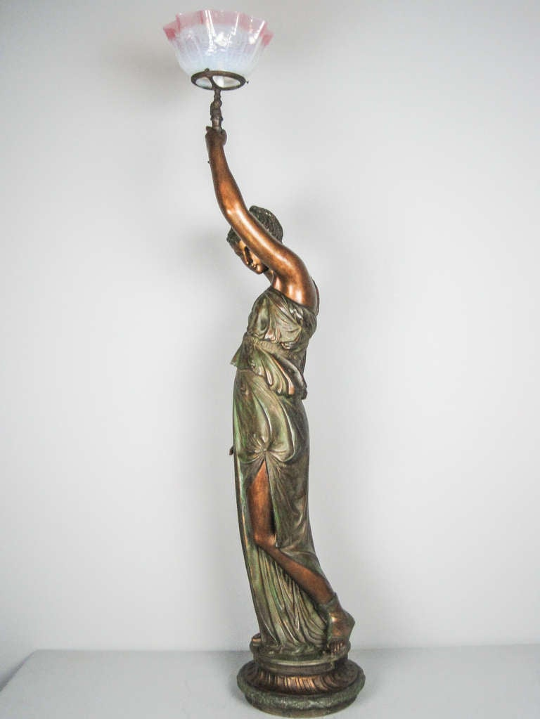 mitchell vance and co goddess newel post lamp for sale at 1stdibs. Black Bedroom Furniture Sets. Home Design Ideas