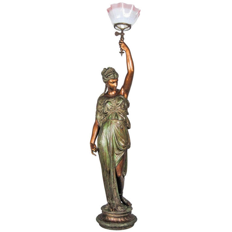 Quot Mitchell Vance And Co Quot Goddess Newel Post Lamp At 1stdibs