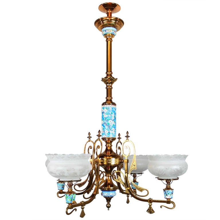 Longwy Aesthetic Movement Gas Chandelier 4 Light At 1stdibs