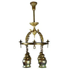 Early Combination Gas/Electric Fixture with Art Glass by Beardslee of Chicago