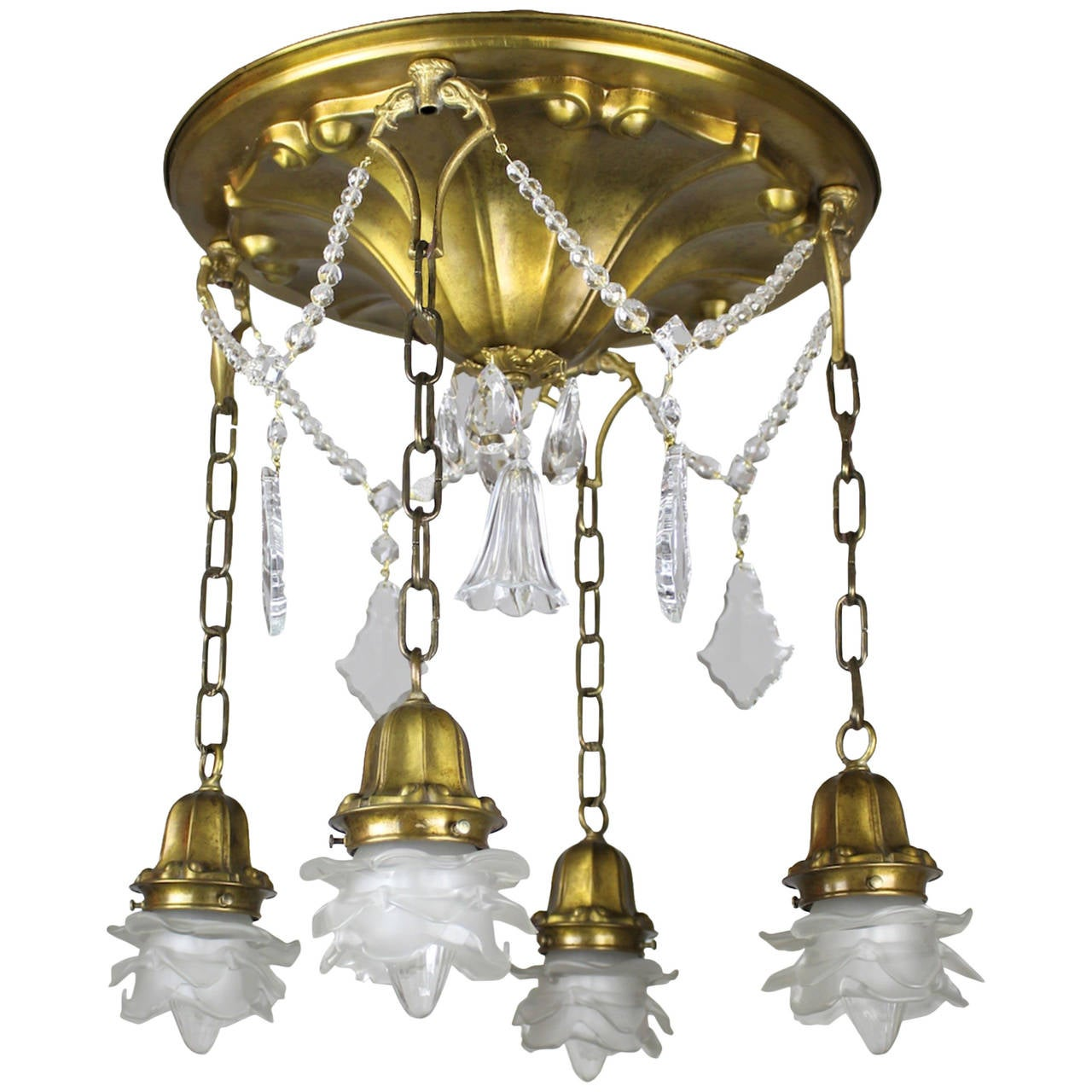 Brass Four Light Flush Mount Fixture With French Art Glass