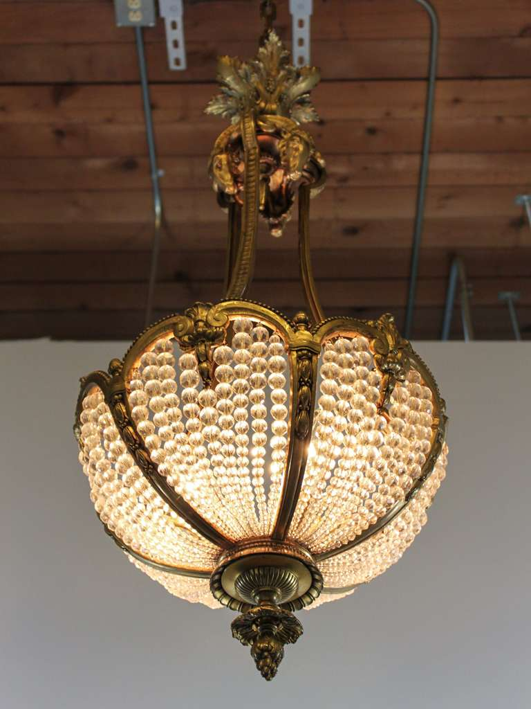 Antique Crystal Rams Head Basket Chandeiler 3 - Antique Crystal Rams Head Basket Chandeiler For Sale At 1stdibs