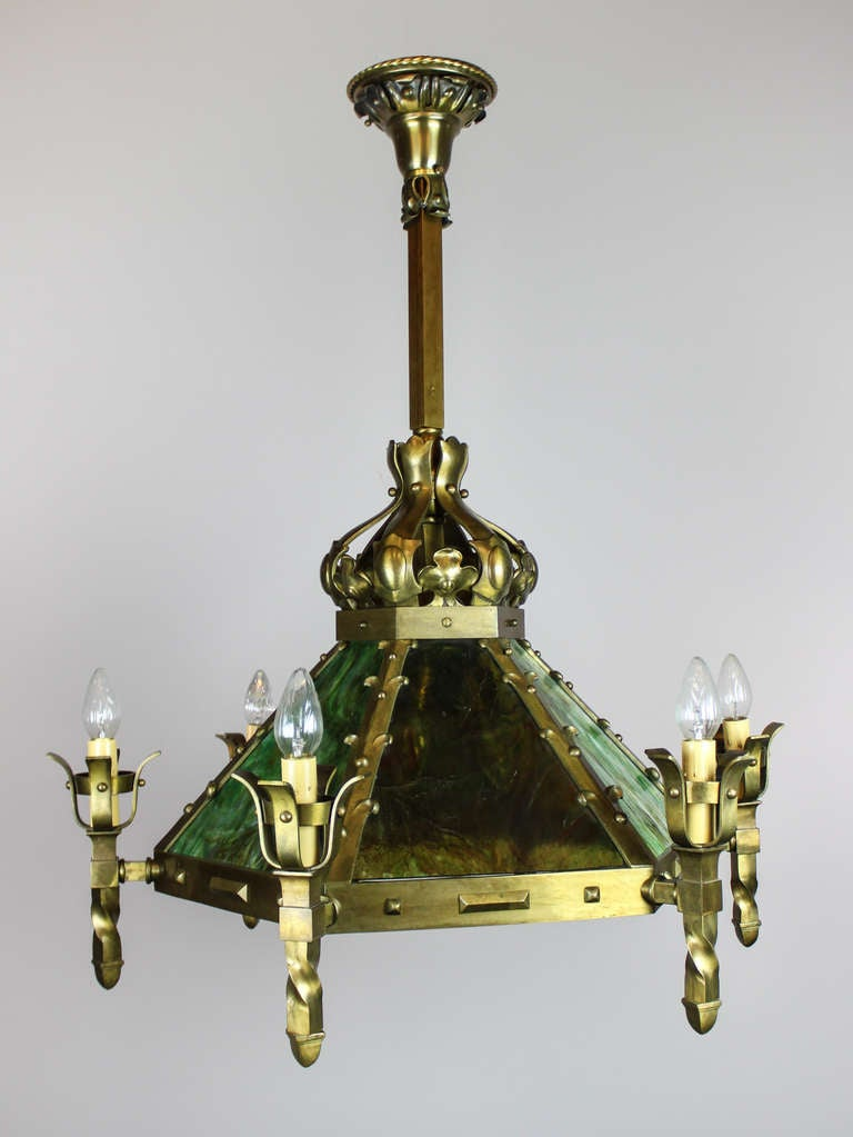 Mission Style Arts And Crafts Slag Glass Light Fixture