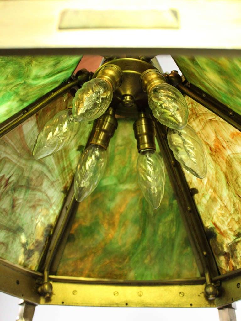 Monumental Mission Slag Glass Light Fixture 12 Light At