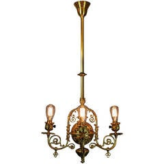 Victorian Filigree Converted Gas Electric Fixture, Four-Light