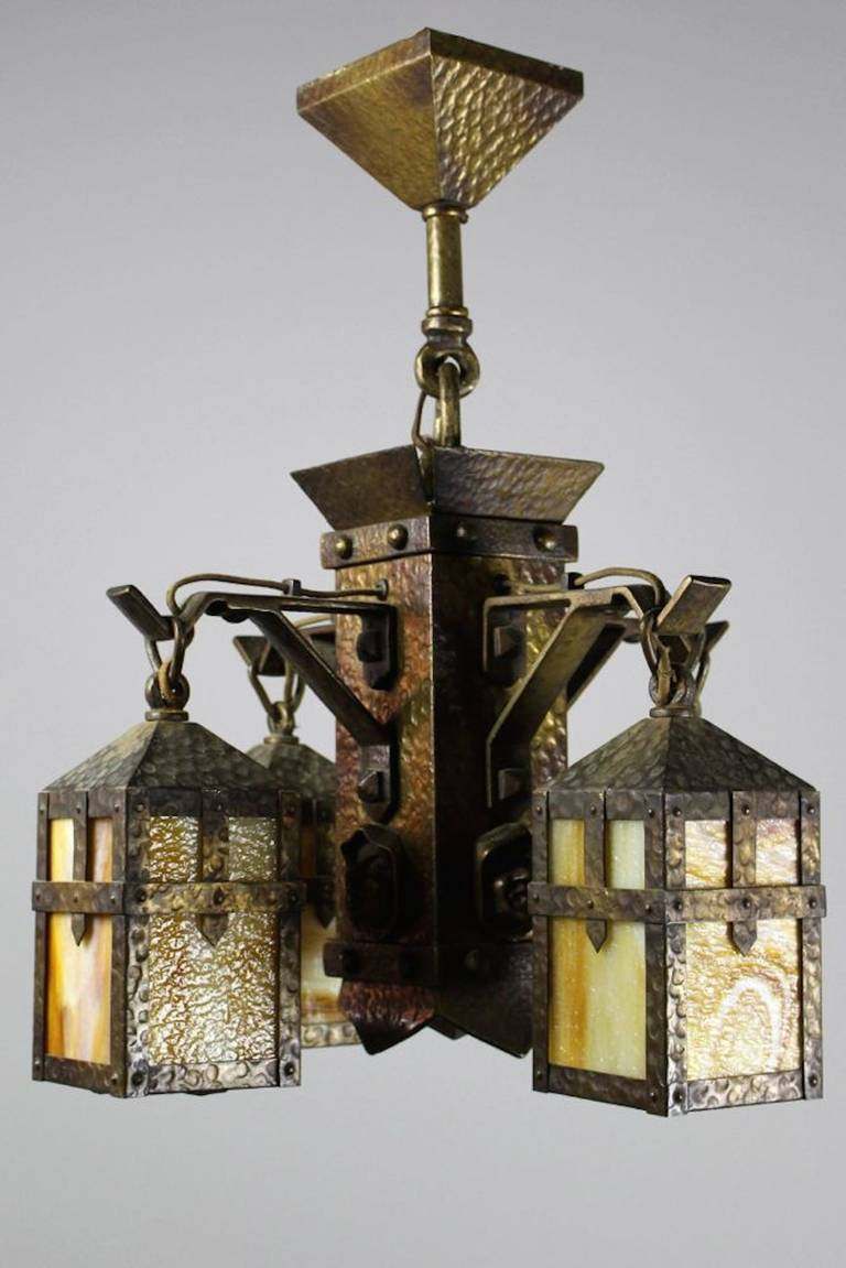Arts and crafts monk face four light chandelier at 1stdibs arubaitofo Image collections