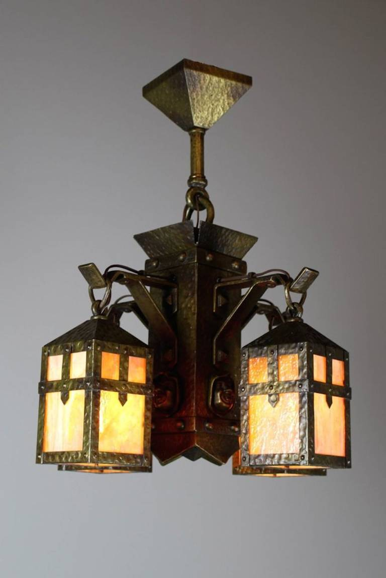 Arts and crafts light fixtures - Arts Crafts Monk Face Four Light Chandelier 3