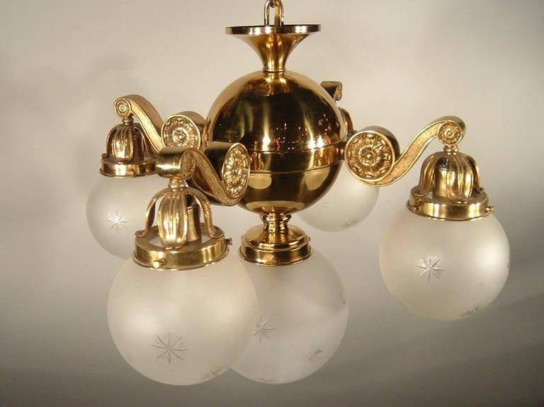 Greek Revival Fivelight Fixture With Etched Glass Globe