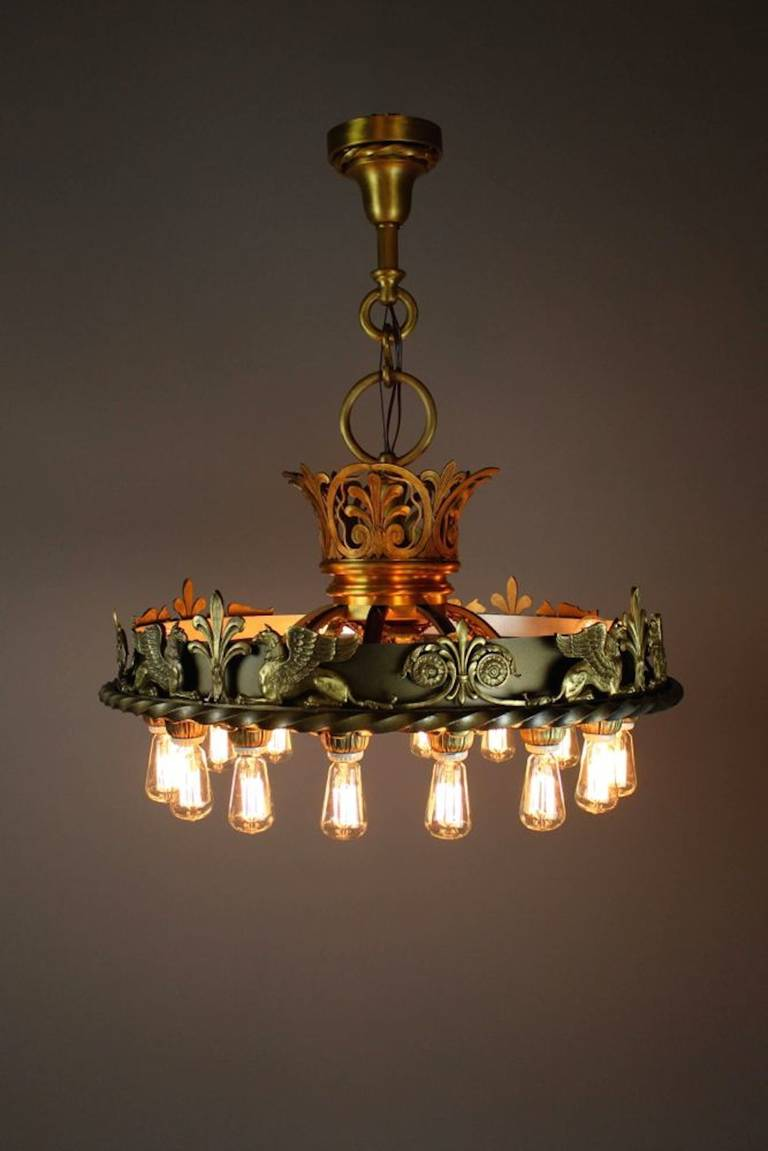 Commercial BeauxArts Chandelier from the Masonic Lodge Kansas – Commercial Chandelier
