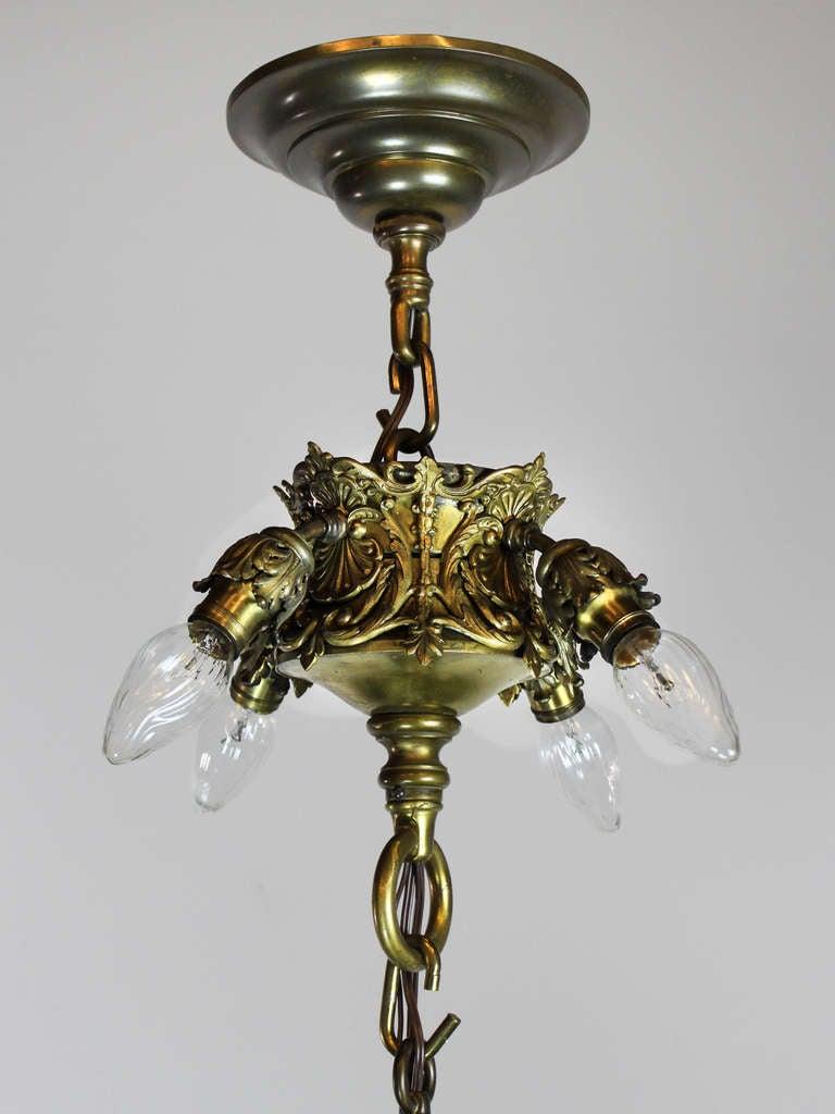 Tiffany Style Bronze Art Glass Chandelier With Steuben