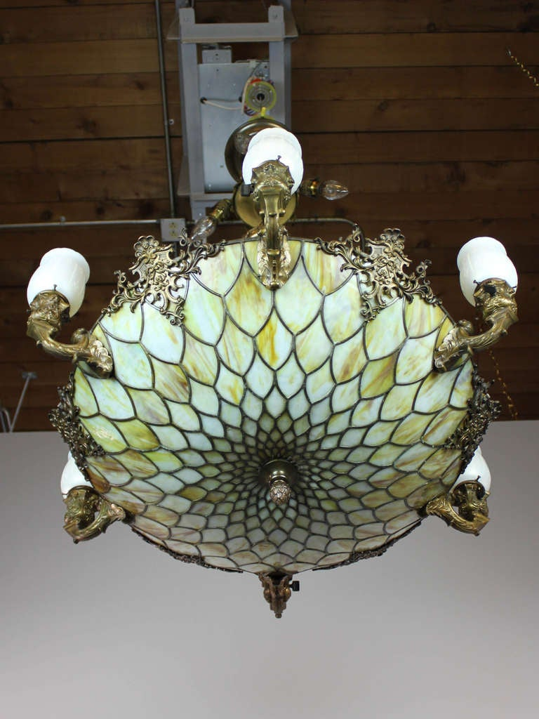 Tiffany Style Bronze Art Glass Chandelier With Steuben