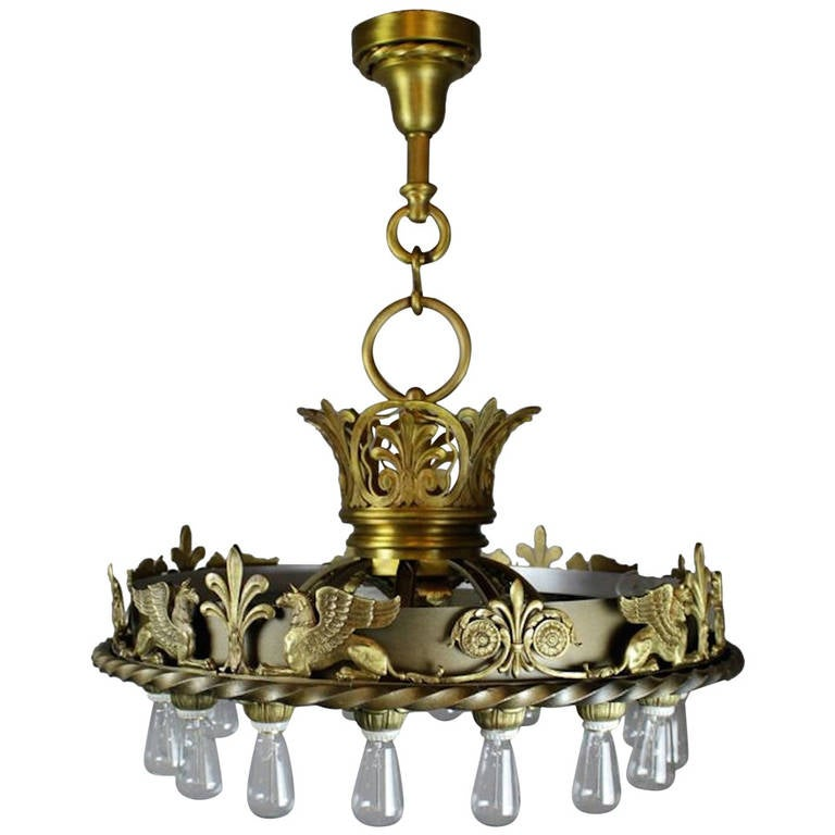 Commercial Beaux-Arts Chandelier From The Masonic Lodge