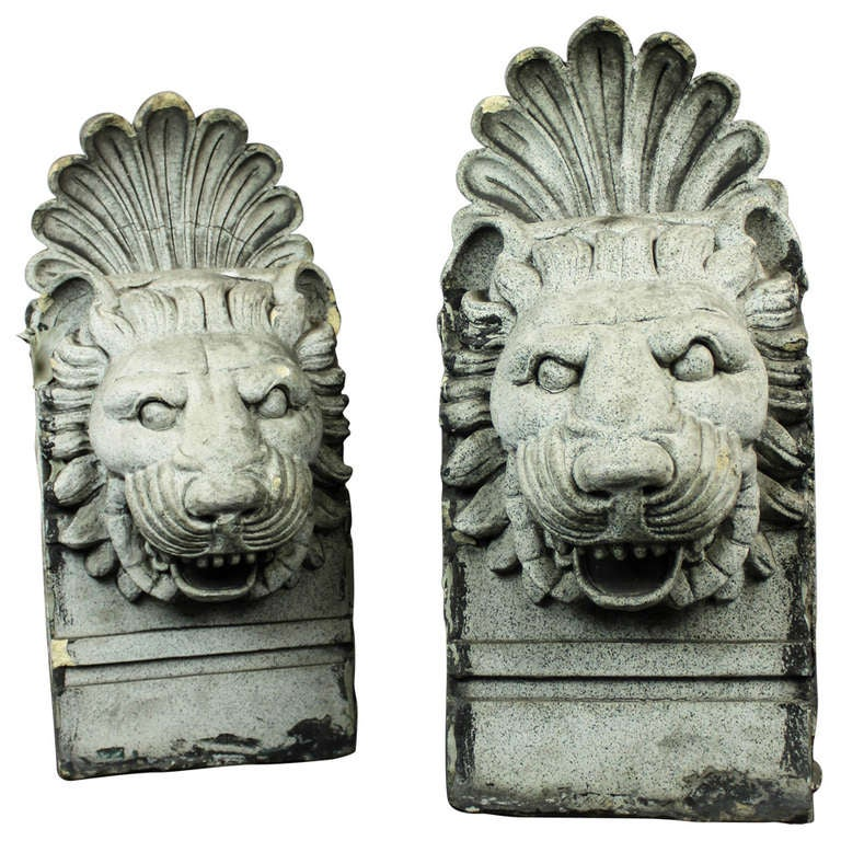 Pair of Terra Cotta Architectural Lion Heads 1