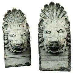 Pair of Terra Cotta Architectural Lion Heads