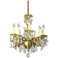 Gold-Plated Rococo Converted Gas Chandelier, Ten-Light