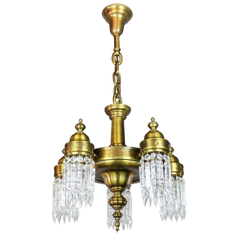 arts and crafts crystal light fixture 5 light at 1stdibs. Black Bedroom Furniture Sets. Home Design Ideas