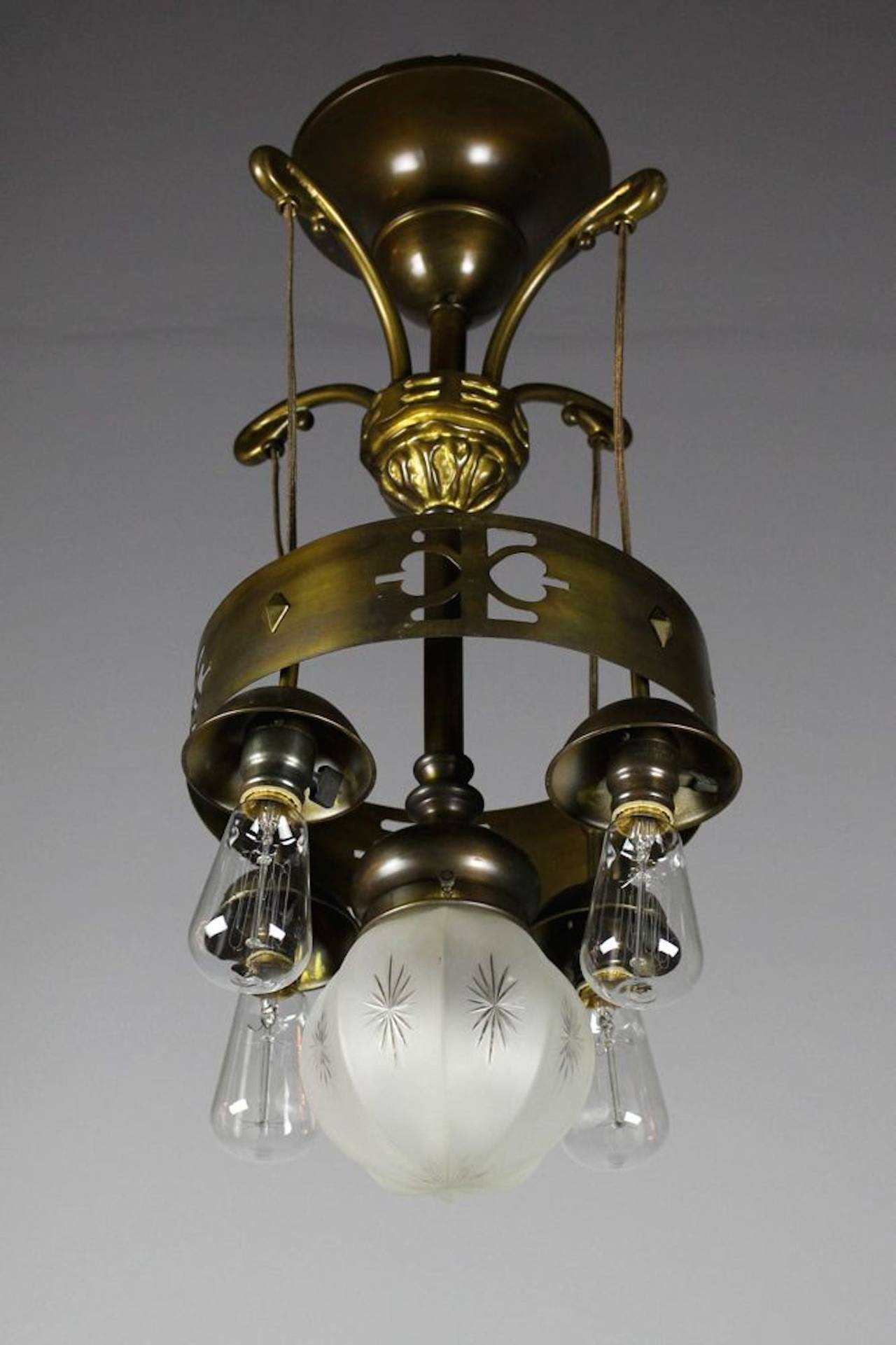 Rare Arts And Crafts Ringed Five Light Flush Mount Fixture