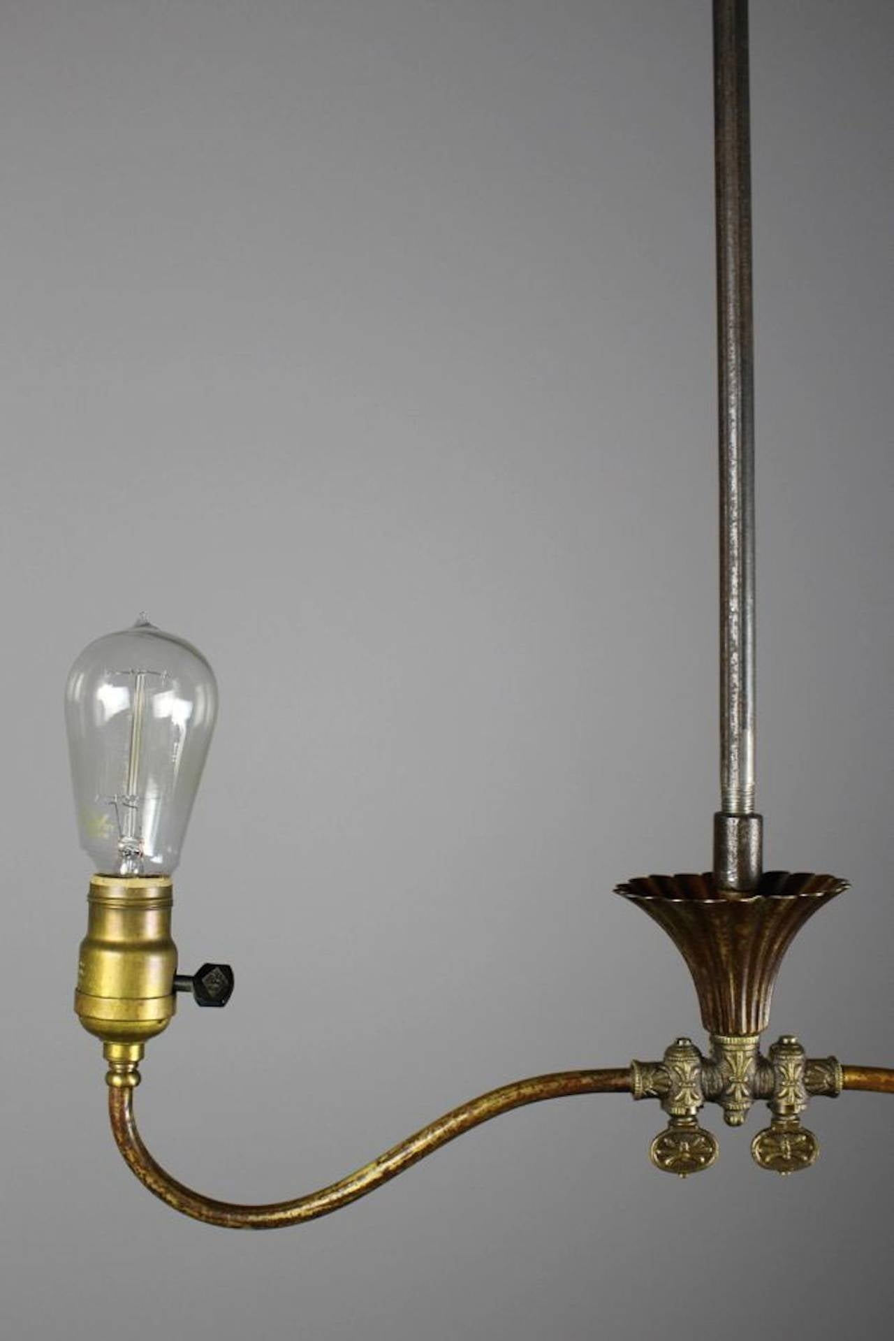 Industrial Converted Gas Electric Double Pendant For Sale