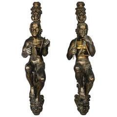 Pair of Finely Carved Blackamoor Figures