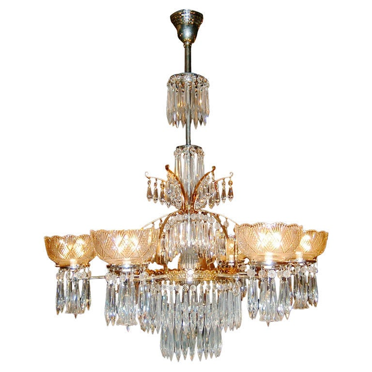 Chandelier Lighting Vancouver Bc: Tiered 6-Arm Gas Crystal Chandelier By McKenney Of Boston