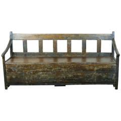 19thc pine lift top bench