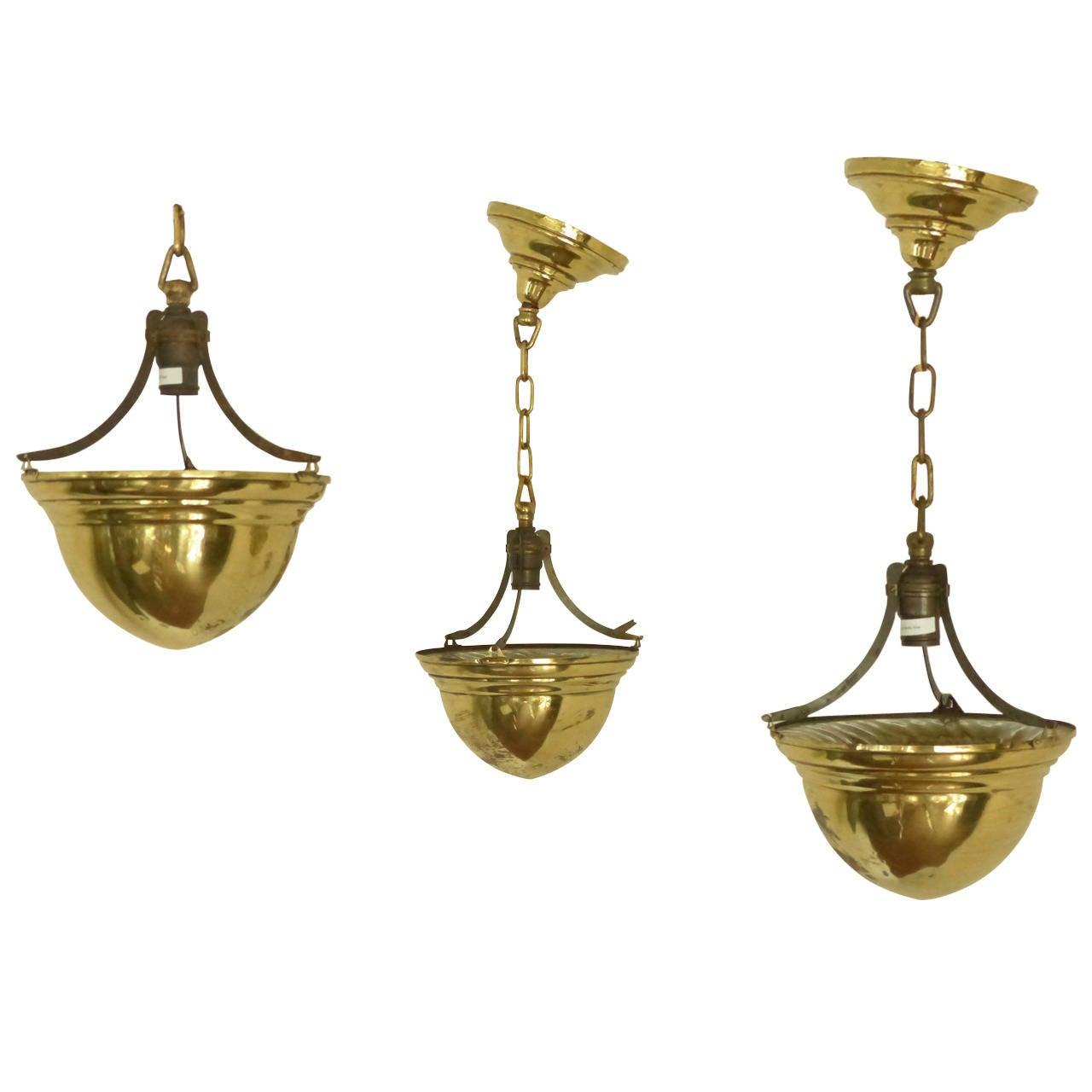 Ceiling light fixtures brass : Brass cone ceiling light fixtures at stdibs
